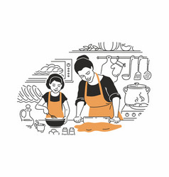mother and daughter cooking - modern vector image