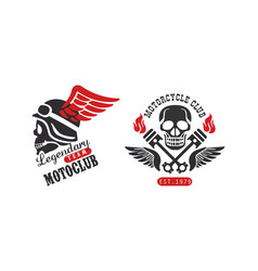 Motorcycle club retro logo templates set vector
