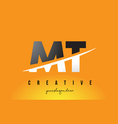 Mt m t letter modern logo design with yellow vector