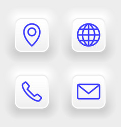 neumorphic business card icons set phone email vector image