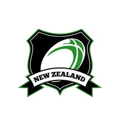 New zealand rugby ball shield vector
