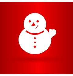 Nice snowman on the red background vector image