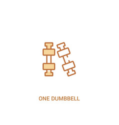 One dumbbell concept 2 colored icon simple line vector