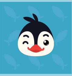 Penguin emotional head of vector
