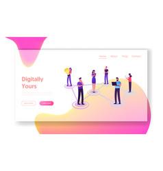people chatting in social networks website landing vector image