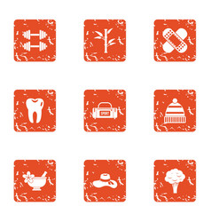 Physical fitness icons set grunge style vector