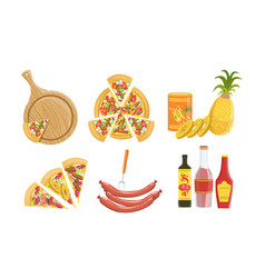 pizza and all ingredients for cooking it set vector image