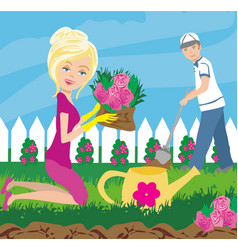 Planting flowers in garden vector