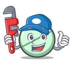 Plumber drug tablet mascot cartoon vector