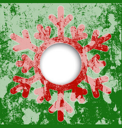 red snowflake christmas card vector image