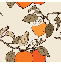 Seamless pattern from orange persimmon vector