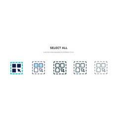 Select all icon in different style two colored vector