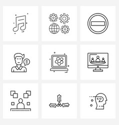 Set 9 simple line icons computer talking vector