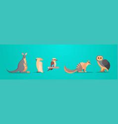 set cartoon endangered wild australian animals vector image