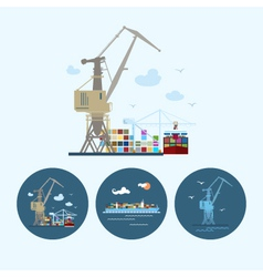 Set icons with crane containership crane in dock vector image