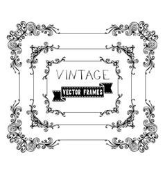 set of calligraphic vintage frames vector image