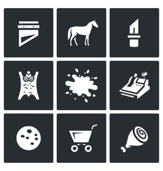 Set of Meat Processing Plant Icons vector image
