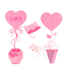 set of topiary with hearts and greeting card in vector image