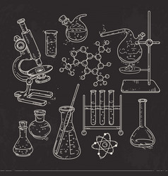 set of various devices for chemical experiments vector image