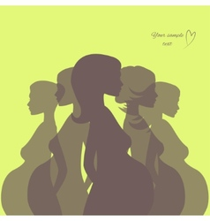Silhouette pregnant woman vector image