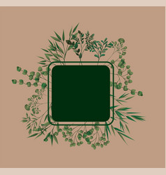 square frame with laurel leafs vector image