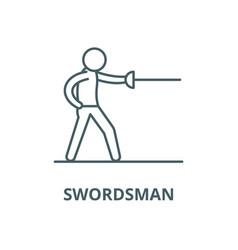 Swordsman line icon linear concept vector