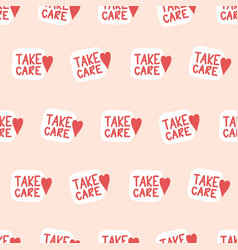 Take care seamless background unique hand vector