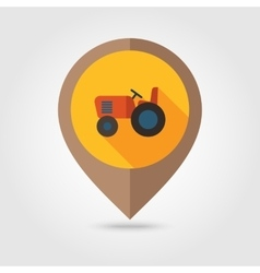 Tractor flat mapping pin icon vector image
