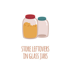 two glass jars for storage of food residues in a vector image