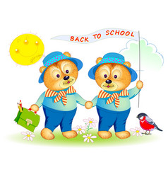 Two little bears going to school printable page vector