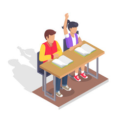 Two students boy and girl sit at desk with books vector