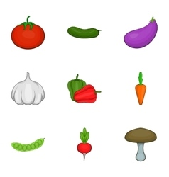 Vegetarian vegetables icons set cartoon style vector