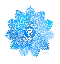 Vishudda fifth chakra coloring vector