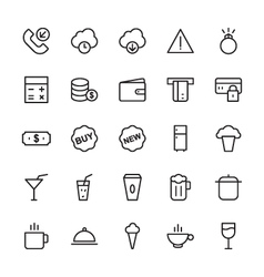 Web and User Interface Outline Icons 5 vector image
