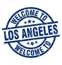 Welcome to los angeles blue stamp vector