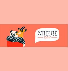 Wildlife day web banner of animal friends hug vector