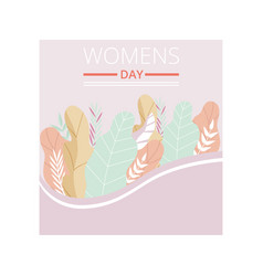 womens day greeting card with floral elements in vector image