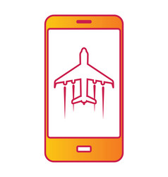 cellular phone with flight mode sign on screen vector image vector image