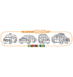 Funny small city cars with eyes coloring book set vector