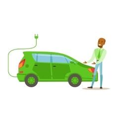 Man Demonstrating Green Electric Car vector image