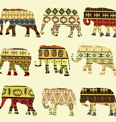 Patterned elephants vector image vector image