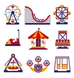 Amusement Park Icons Set of Flat Design vector image