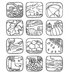 autumn icons vector image