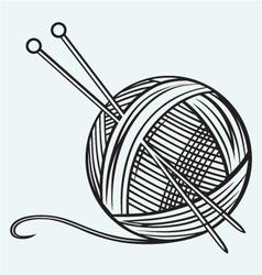 Ball of yarn and needles vector image