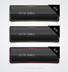 black banners vector image vector image