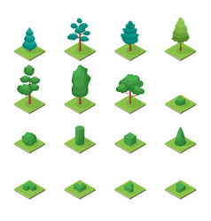 green trees park objects set icons 3d isometric vector image