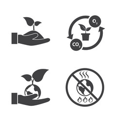 save the world ecology icons set vector image vector image