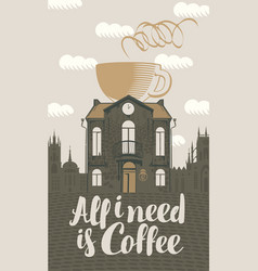 sign coffee house with cup in roof vector image vector image