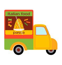 street food festival pasta trailer vector image vector image