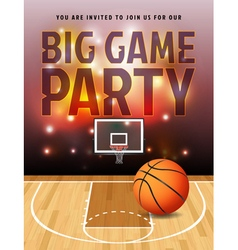Basketball Big Game Party Flyer vector image vector image